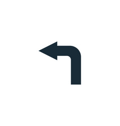 Turn left sign icon logo template design vector