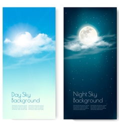 Two contrasting sky banners - Day and Night vector