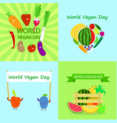 vegan day banner set flat style vector image