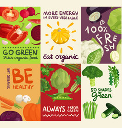 vegetables posters and banners set vector image vector image