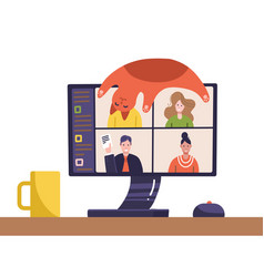 video conference people image on computer screen vector image