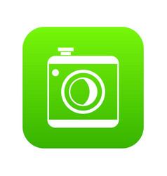 vintage photo camera icon digital green vector image