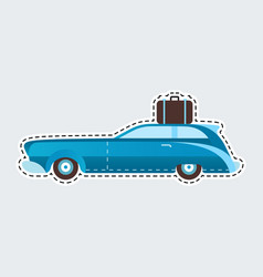 vintage travel car in patch style clip art for vector image
