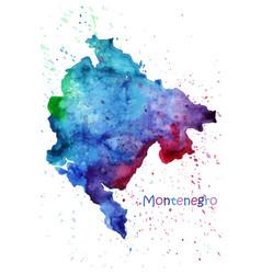 watercolor map montenegro stylized image vector image