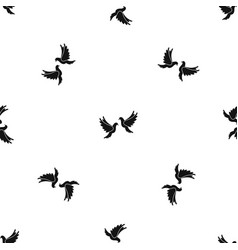 wedding doves pattern seamless black vector image