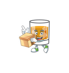 Whiskey in glass with bring box mascot vector
