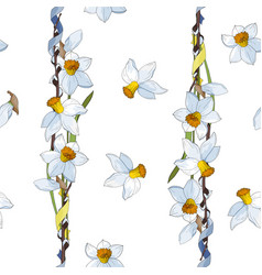 white yellow daffodils on a white background vector image