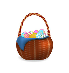 Wicker basket with easter eggs vector