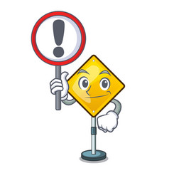 With sign harm warning sign shaped on cartoon vector