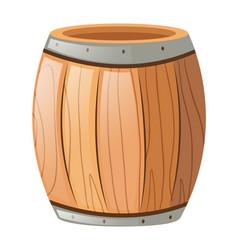 Wooden barrel on white background vector