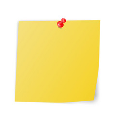 Yellow sticky paper with red pin vector