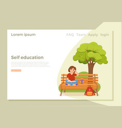 Young woman reading book sitting on a bench in vector