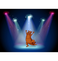 A stage with a sealion dancing at the center vector image