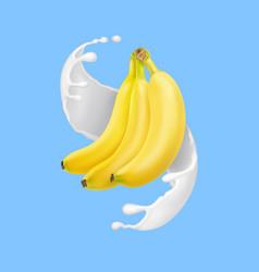 banana in milk splash or yogurt realistic vector image vector image