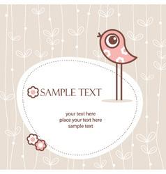 greeting card winh cute bird vector image vector image