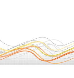orange lines in wave with halftone vector image vector image