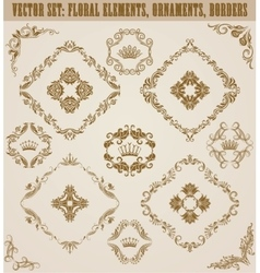 Set of damask ornaments vector image vector image