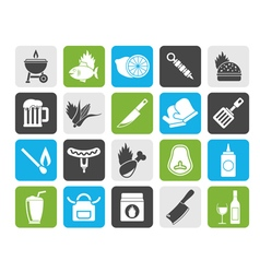 Silhouette Grill and Barbecue Icons vector image