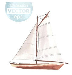 Watercolor boat with sails vector image vector image