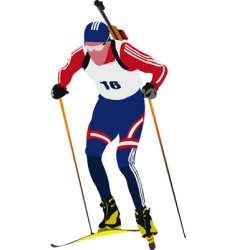 biathlon skier vector image