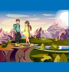 couple hiking man woman traveler on mountain vector image