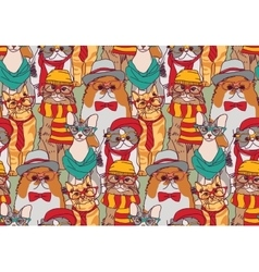 Cute cats group fashion hipster seamless pattern vector image