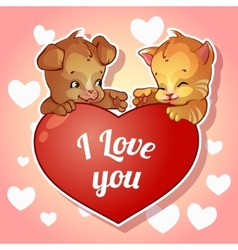 Cute puppy and kitten with hearts for Valentines vector image