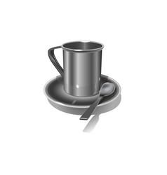 realistic metal mug on white background vector image