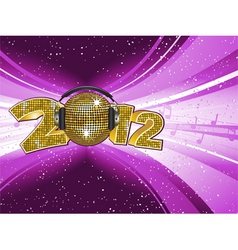 sparkling gold disco ball and headphones on a 2012 vector image vector image