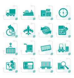 stylized shipping and logistics icons vector image vector image