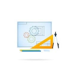 Technical drawing of gear mechanism vector image vector image
