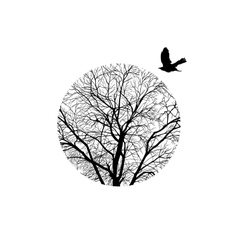 winter tree in a circle vector image vector image