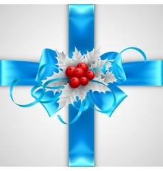 Blue bow with Christmas decorations isolated on vector image vector image