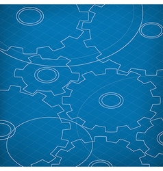 Blueprint of Cogs Blueprint abstract background vector image