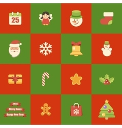 Flat icons christmas set vector image vector image