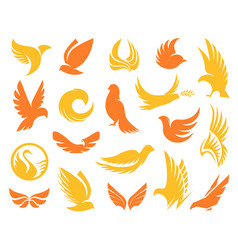 isolated abstract yellow and orange color birds vector image vector image