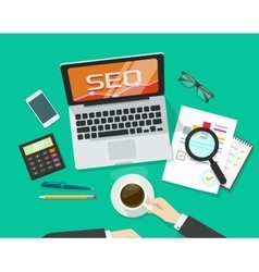 SEO analytics concept on workdesk search vector image vector image