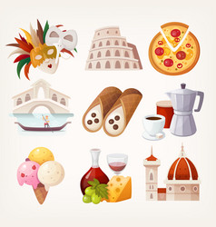 stickers with sights and famous food of italy vector image