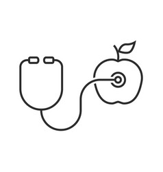 thin line stethoscope and apple vector image