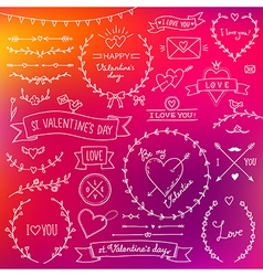 valentine set red vector image