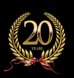 20 years anniversary laurel wreath vector image
