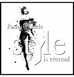 Fashion quote with modern girl in a dress vector image