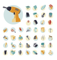 Icons vintage set for industrial vector