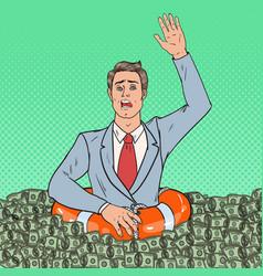 pop art successful man sinking in money vector image vector image