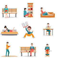 reading people flat character set with books vector image vector image