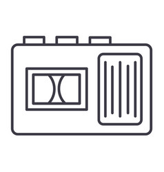 tape recorder line icon sign vector image vector image