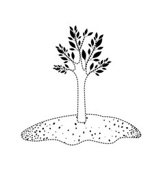 tree in grassland in black dotted silhouette vector image vector image