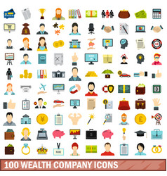 100 wealth company icons set flat style vector image