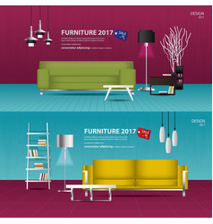 2 banner furniture sale design template ill vector image