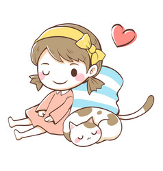 a cat sleeping next to girl vector image